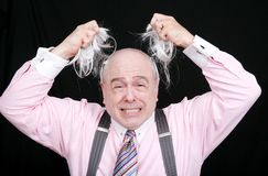 Pulling his hair out Royalty Free Stock Photography