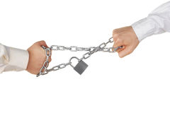 Pulling a locked chain Stock Photography