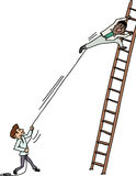 Pulling Man on Ladder. Jealous man pulling another man climbing up a ladder Royalty Free Stock Photo