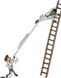Pulling Man on Ladder Royalty Free Stock Photo