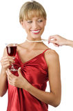 Pulling necklace Stock Image
