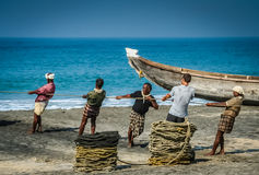Pulling the nets from the sea Royalty Free Stock Photos
