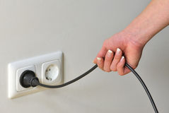 Pulling the plug royalty free stock images