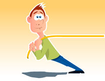 Pulling the rope. Cartoon character pulling the rope Royalty Free Stock Images