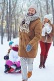 Pulling sledge Royalty Free Stock Photo
