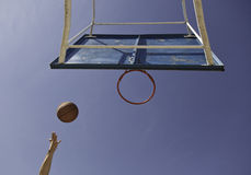 Pulling to the basket, basketball. Detail of a field goal Royalty Free Stock Photography