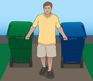 Pulling Trash Cans Stock Image