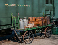 Pullman Horse Express Car and loader vintage 1930. The horse express cars were used to carry horses and gear to and from LA county farms in the 1930's Stock Photo