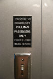 Pullman rail car doorbell. Sign and doorbell in a Pullman rail car Stock Photo