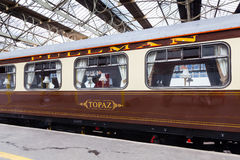 Pullman Railway Carriage. A preserved Pullman carriage is pictured in Carlisle Citadel station in Cumbria.  Pullman was a luxury railway service that operated in Stock Images