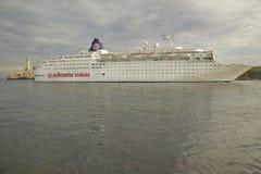 A Pullmantur Cruises cruise ship pulling into Havana harbor, Cuba Stock Images
