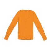 Pullover arancio del v-collo del ` s delle donne, isolato su bianco Fotografia Stock Libera da Diritti