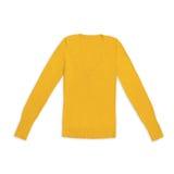 Pullover arancio luminoso del v-collo del ` s delle donne, isolato su bianco Immagine Stock Libera da Diritti