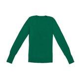 Pullover del collo a V di verde del ` s delle donne isolato su bianco Immagini Stock