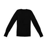 Pullover del v-collo del nero del ` s delle donne, isolato su bianco Fotografia Stock Libera da Diritti