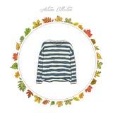 Pullover, Kleidung des Handabgehobenen betrages Bunter Kürbis auf der Tabelle Feld des Herbstes Lizenzfreie Stockfotos
