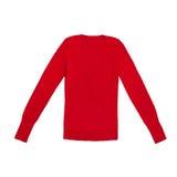Pullover rosso del collo a V del ` s delle donne isolato su bianco Fotografie Stock Libere da Diritti