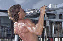 Pullups in gym Stock Image