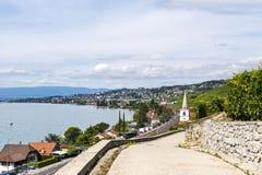 Pully, Meer van Genève (Zwitserland) Stock Afbeelding