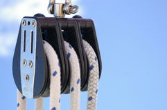 Pully & Rope 4. Close-up of pulley and rope winch system for sailboat Stock Photography