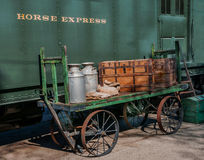 Pulman horse express car and loader circa 1930. The car was used to carry horses and supplies to the races in California in the 1930s Stock Photography
