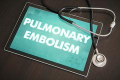 Pulmonary embolism (heart disorder) diagnosis medical concept on. Tablet screen with stethoscope royalty free stock images