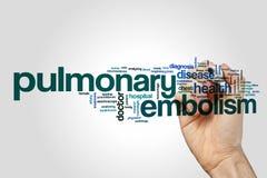 Pulmonary embolism word cloud concept. Pulmonary embolism word cloud on grey background stock image
