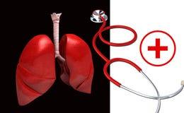 Pulmones humanos, estetoscopio y símbolo clínico ilustración del vector