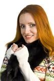 pulower piękna futerkowa uśmiechnięta kobieta Fotografia Stock