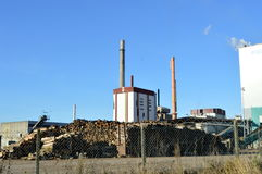 Pulp mill with two fireplaces Stock Photography