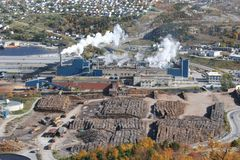 Pulp & Paper Mill. Aerial view of an operational pulp and paper mill Royalty Free Stock Photos
