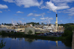 Pulp and paper mill. Along river,  Toledo,  Oregon Coast Stock Images