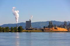Paper Mill Along Columbia River in Washington state Stock Image