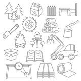 Pulp, paper and wood products icon set. Thin line design isolate Royalty Free Stock Photos