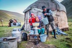 Pulping of milk in Kyrgyzstan Stock Photos