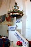 Pulpit στην παλαιά ενισχυμένη εκκλησία Dirjiu, Τρανσυλβανία, Ρουμανία Στοκ Φωτογραφία