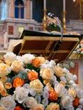 Pulpit floral decoration church. Pulpit with floral decoration church Stock Photos