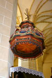 Pulpit inside the fortified medieval church Biertan, Transylvania. Stock Images