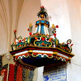 Pulpit inside in the old fortified church Dirjiu, Transylvania, Romania Royalty Free Stock Images