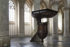 Pulpit in interior of breda cathedral in holland Royalty Free Stock Image