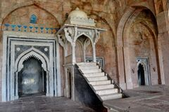 Pulpit or Minbar of Ancient Jami Mosque Mandav Royalty Free Stock Photos