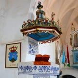Pulpit in the old fortified church Dirjiu, Transylvania, Romania Stock Image