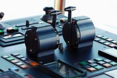 Pulpit operatora przemysłowy ładunku statek, zbliżenie Zdjęcie Royalty Free
