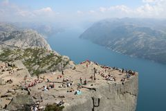 Pulpit rock. At Lysefjorden in Norway. A well known tourist attraction towering 600 meters over sea level stock photos