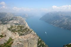 Pulpit rock. At Lysefjorden in Norway. A well known tourist attraction towering 600 meters over sea level royalty free stock photography