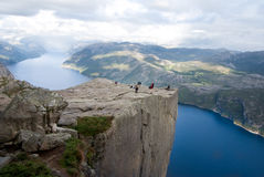 Pulpit rock in Norway. View on fjord and pulpit rock in Norway Royalty Free Stock Image