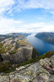 Pulpit rock in Norway. View on fjord and pulpit rock in Norway Royalty Free Stock Photography