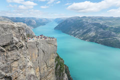 Pulpit Rock in Norway. Majestic Pulpit Rock in Rogaland in Norway with a spectacular view over Lysefjorden Stock Images