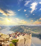 Pulpit rock at sunrise in Norway. Travel background Royalty Free Stock Image