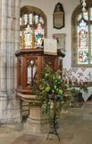 St Dunstan Church Pulpit. The Pulpit in St Dunstan Church in the Kent village of Cranbrook England royalty free stock photo